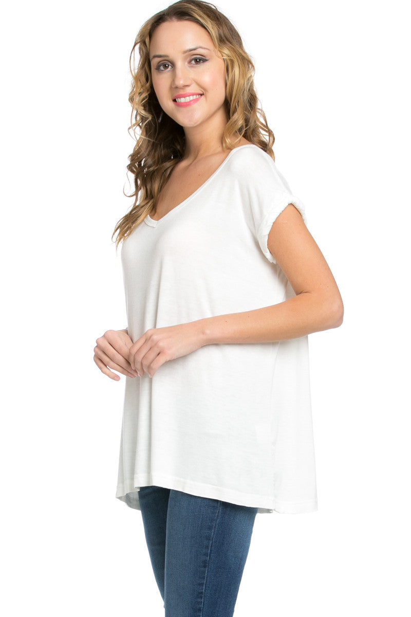 Simple Rolled Sleeve Top White - Tops - My Yuccie - 2