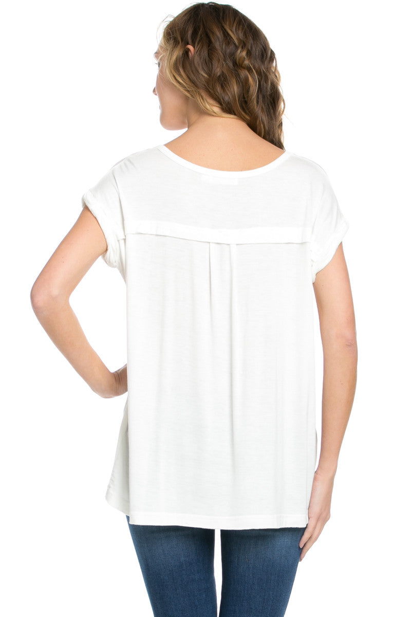 Simple Rolled Sleeve Top White - Tops - My Yuccie - 4