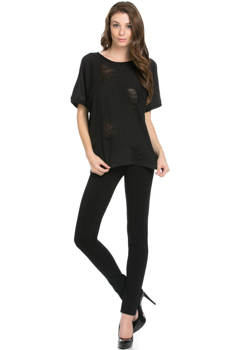 Distressed Spots Shirt Black - Tops - My Yuccie - 6