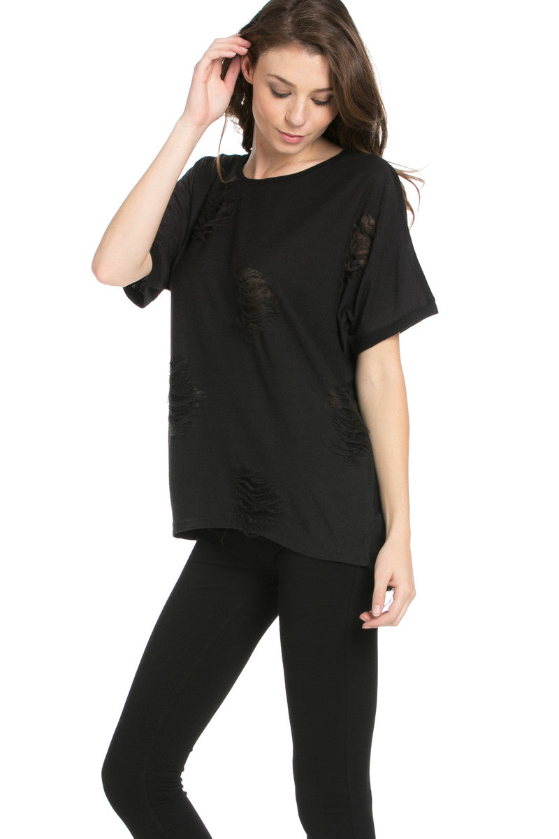 Distressed Spots Shirt Black - Tops - My Yuccie - 1