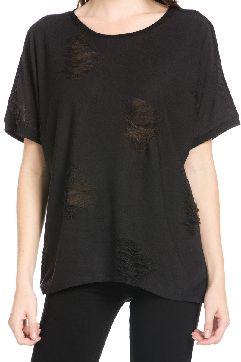 Distressed Spots Shirt Black - Tops - My Yuccie - 5