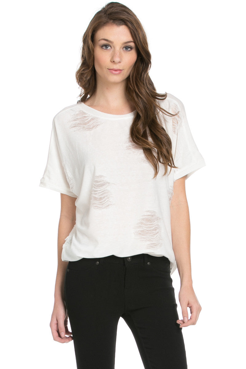 Distressed Spots Shirt White - Tops - My Yuccie - 2