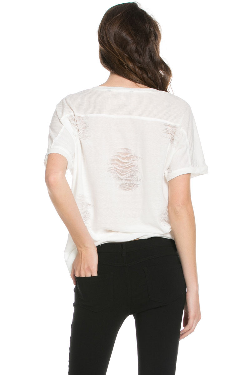 Distressed Spots Shirt White - Tops - My Yuccie - 3