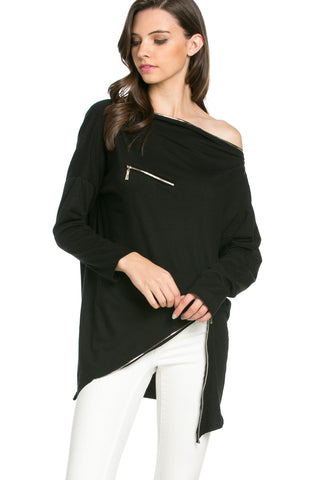 Asymmetrical Zipper Top Black - Tunic - My Yuccie - 1