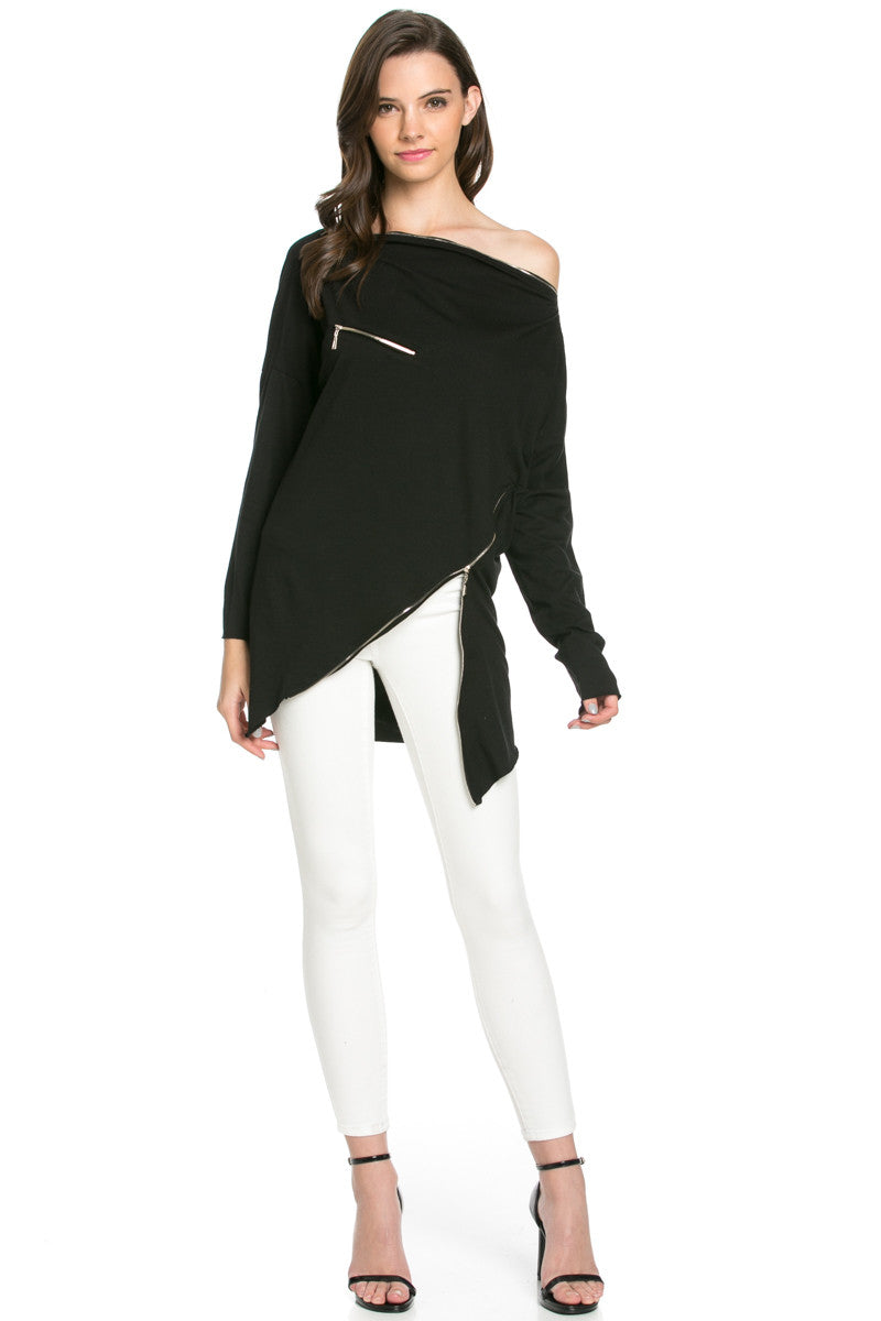 Asymmetrical Zipper Top Black - Tunic - My Yuccie - 3