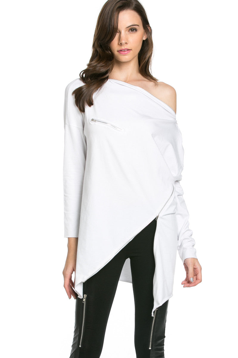 Asymmetrical Zipper Top White - Tunic - My Yuccie - 1