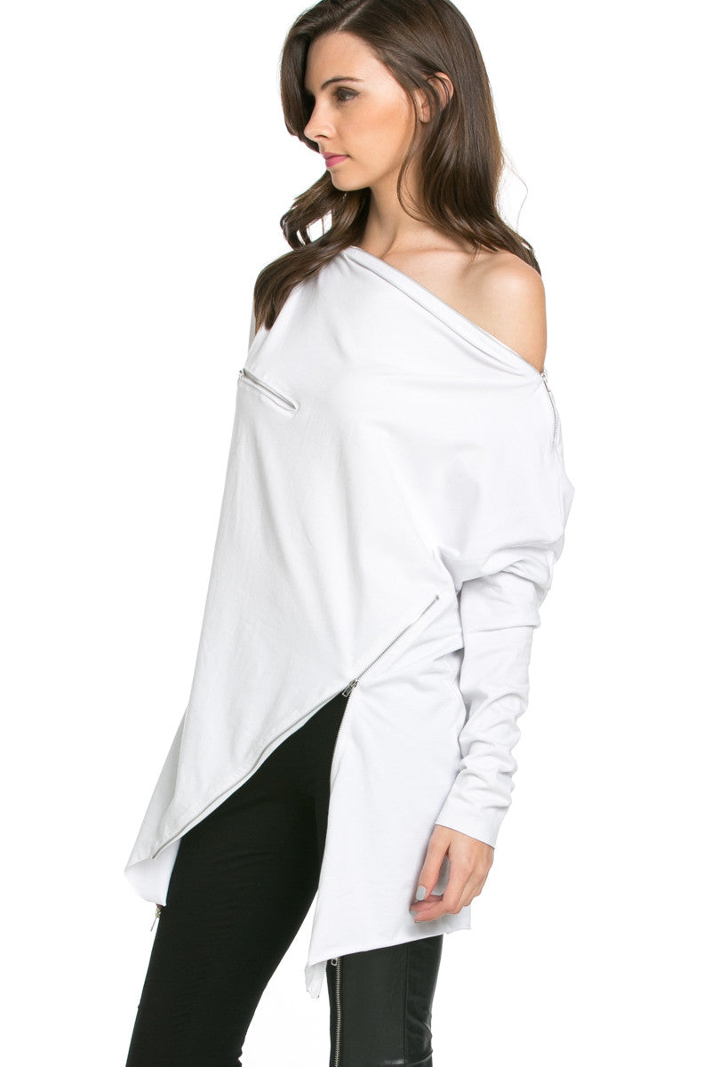 Asymmetrical Zipper Top White - Tunic - My Yuccie - 2