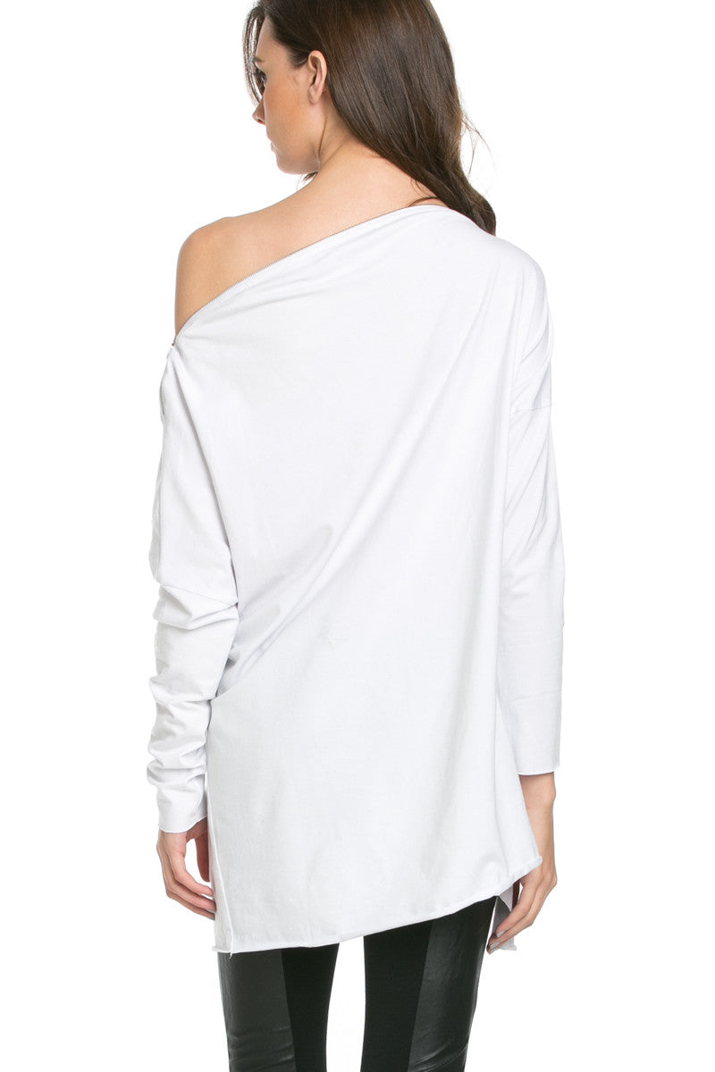 Asymmetrical Zipper Top White - Tunic - My Yuccie - 3