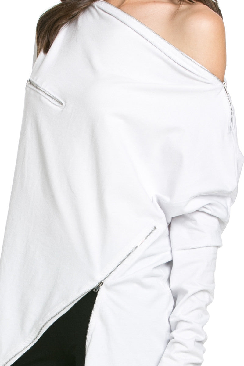Asymmetrical Zipper Top White - Tunic - My Yuccie - 4