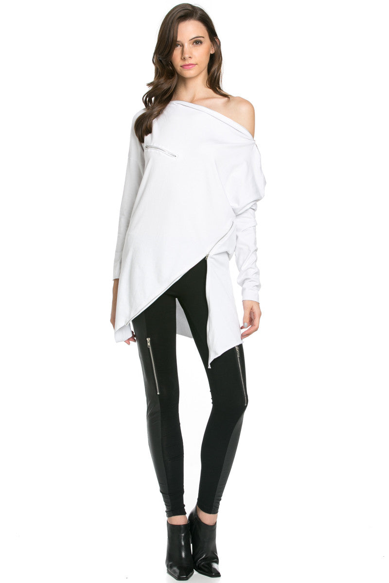 Asymmetrical Zipper Top White - Tunic - My Yuccie - 7