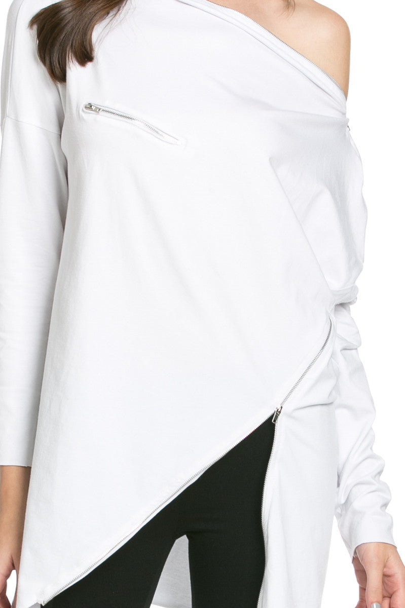 Asymmetrical Zipper Top White - Tunic - My Yuccie - 5