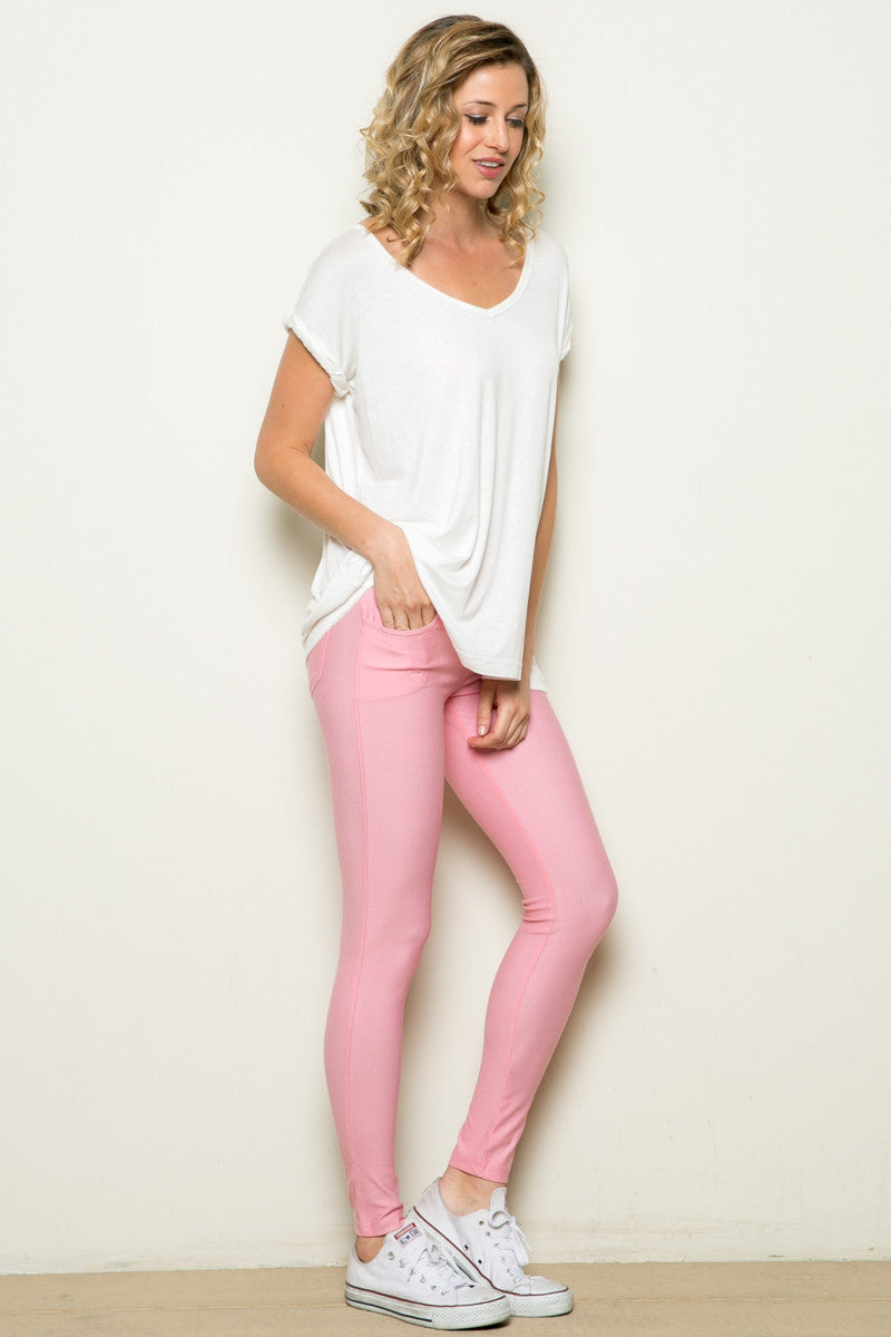 Mid-Rise Jeggings Light Pink - Leggings - My Yuccie - 4