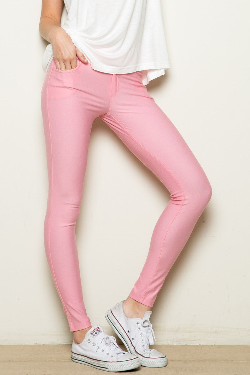 Mid-Rise Jeggings Light Pink - Leggings - My Yuccie - 1