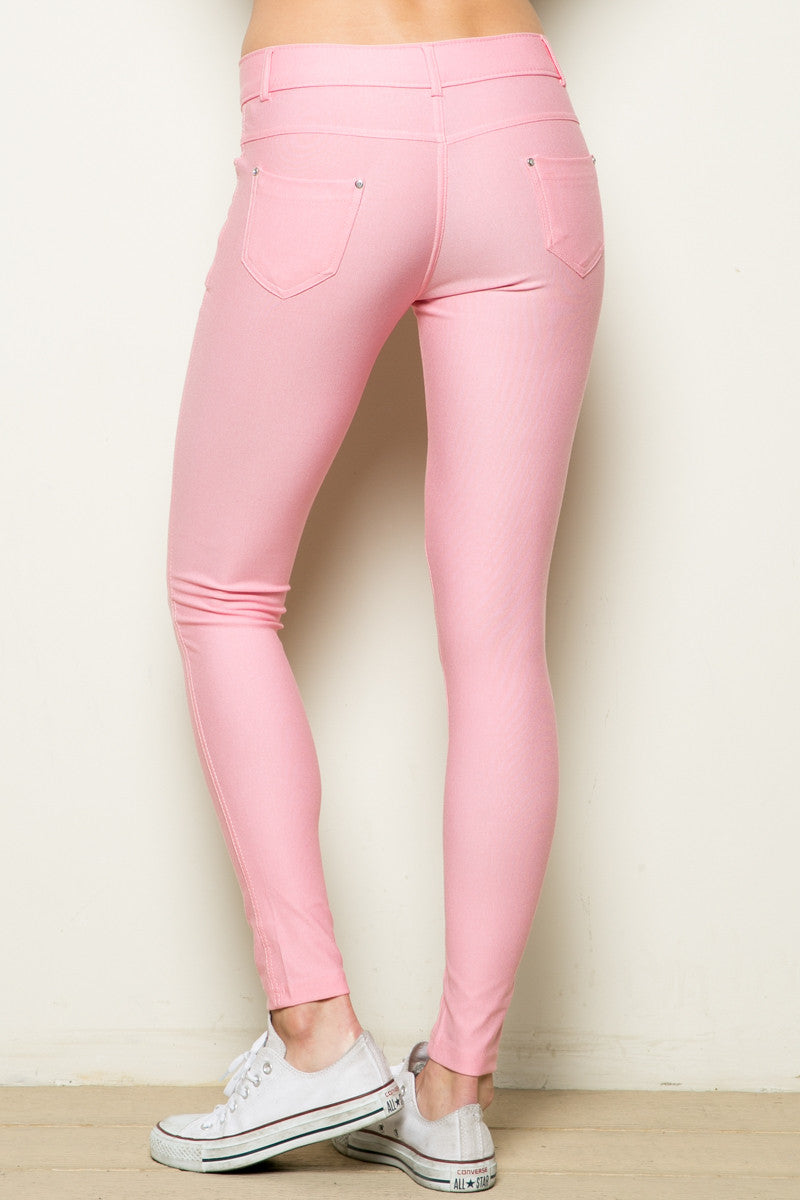 Mid-Rise Jeggings Light Pink - Leggings - My Yuccie - 7