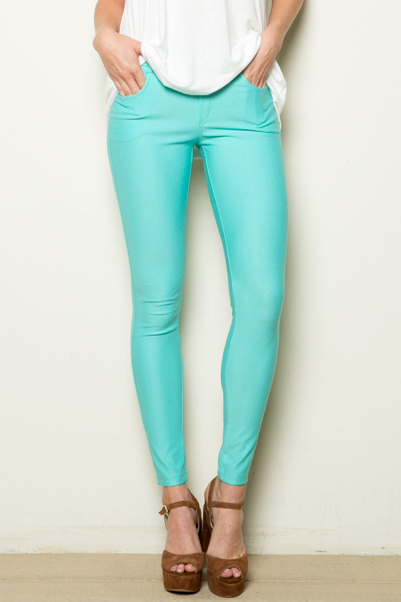 Mid-Rise Jeggings Turquoise - Leggings - My Yuccie - 1