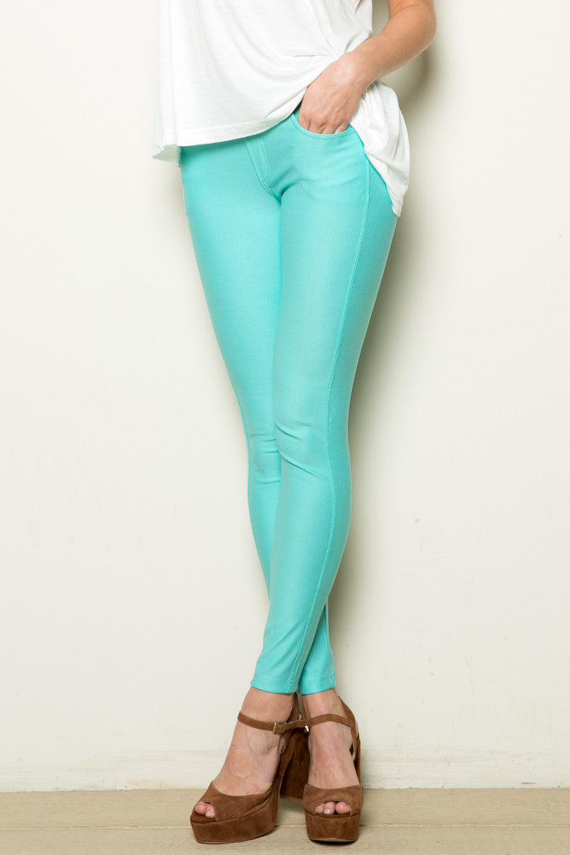 Mid-Rise Jeggings Turquoise - Leggings - My Yuccie - 2