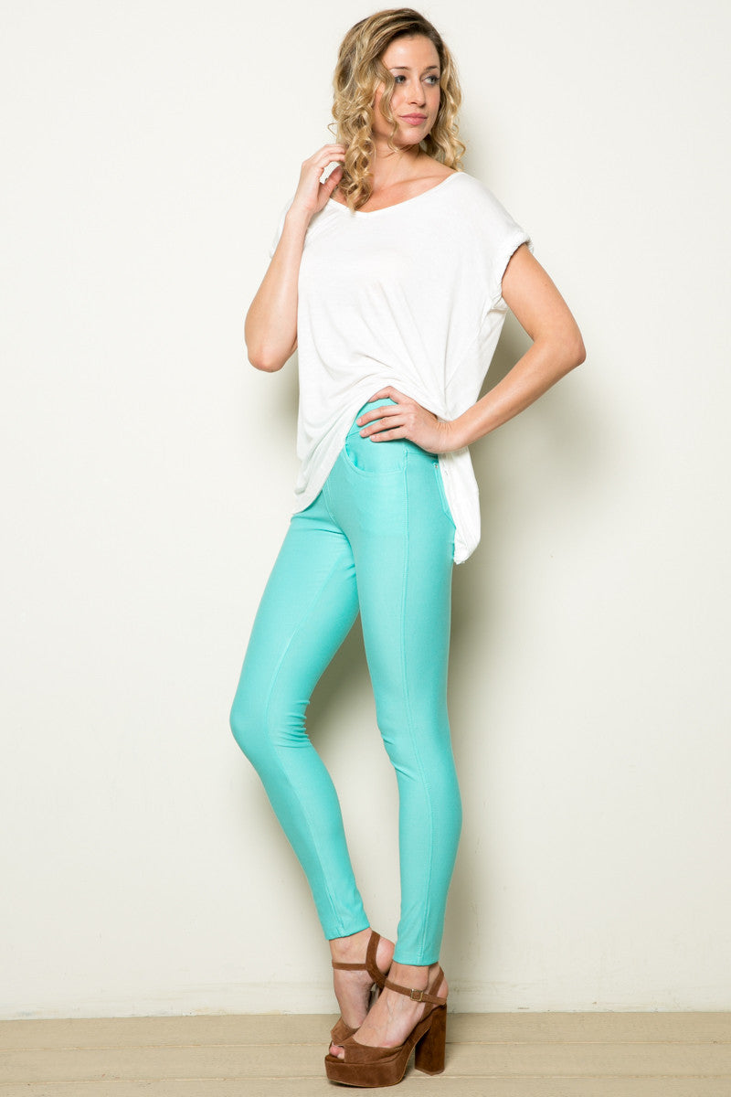 Mid-Rise Jeggings Turquoise - Leggings - My Yuccie - 3