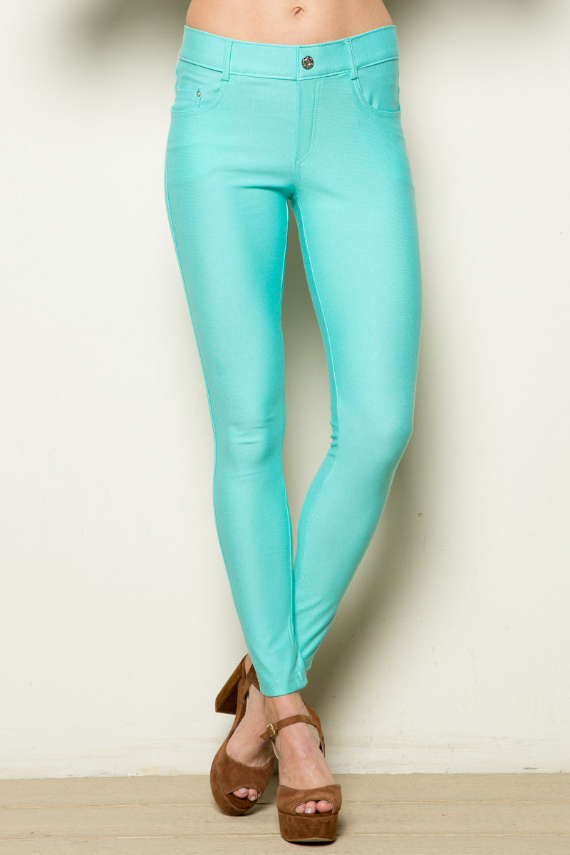 Mid-Rise Jeggings Turquoise - Leggings - My Yuccie - 4