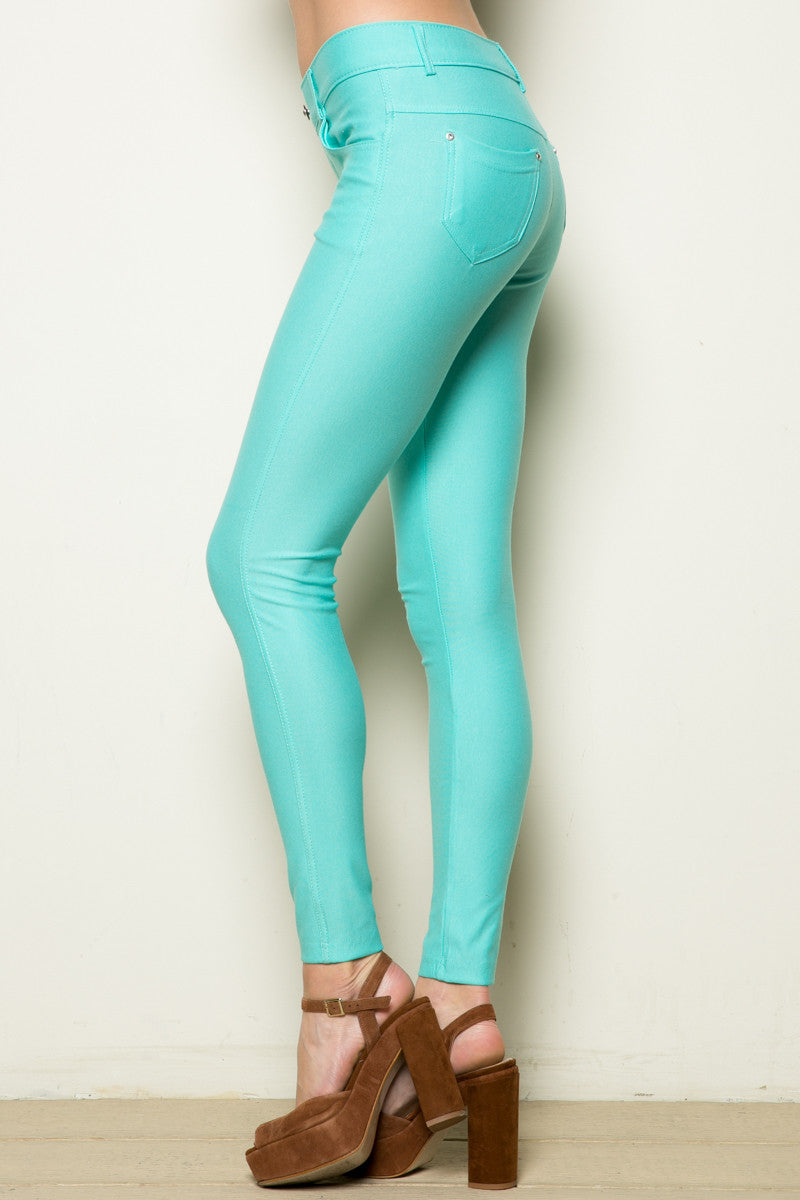 Mid-Rise Jeggings Turquoise - Leggings - My Yuccie - 5
