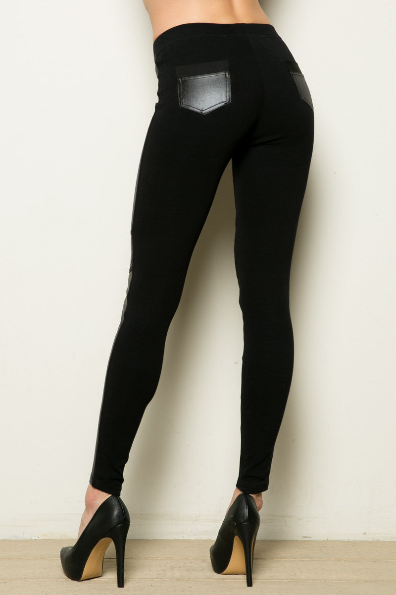 PU Block Stitch Legging Black - Leggings - My Yuccie - 5