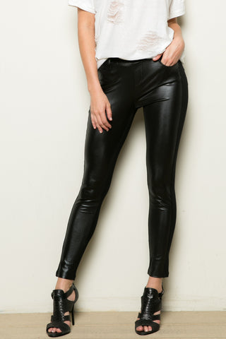 PU Patched Legging Black - Leggings - My Yuccie - 1