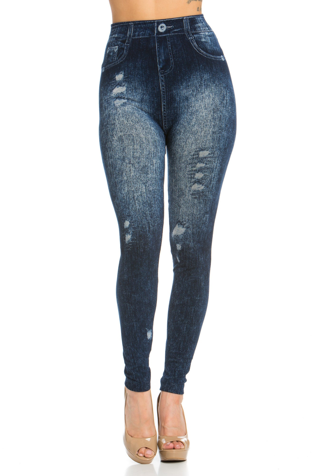 Denim Printed Leggings Seamless Jeggings BLUE