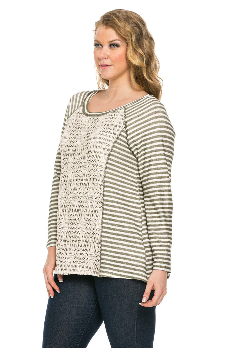 52fb145673f Floral Lace And Stripes Layered Plus Size Top Olive - Tops - My Yuccie - 2