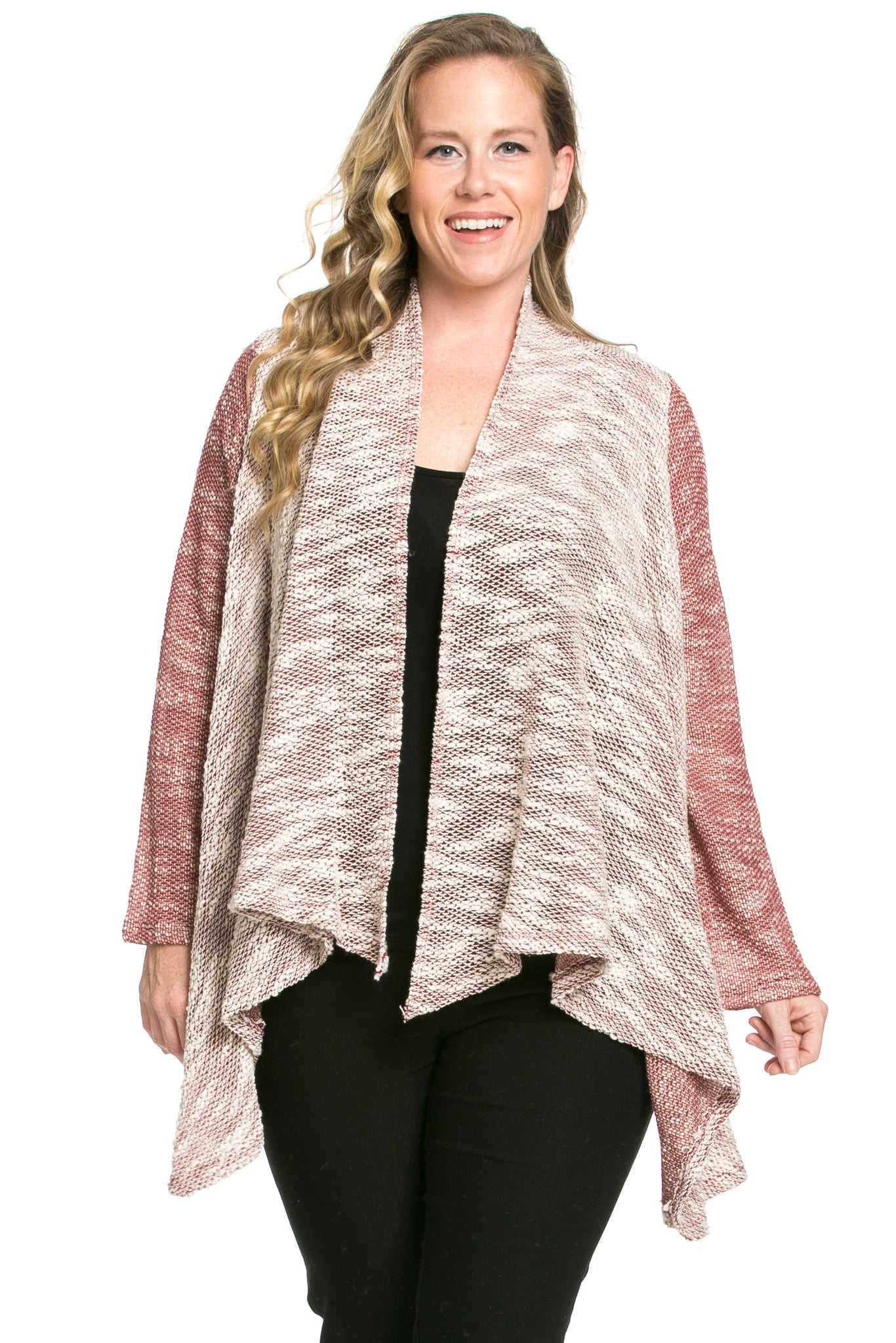 Slub Sweater Open Cardigan Plus Size Burgundy - Jacket - My Yuccie - 1