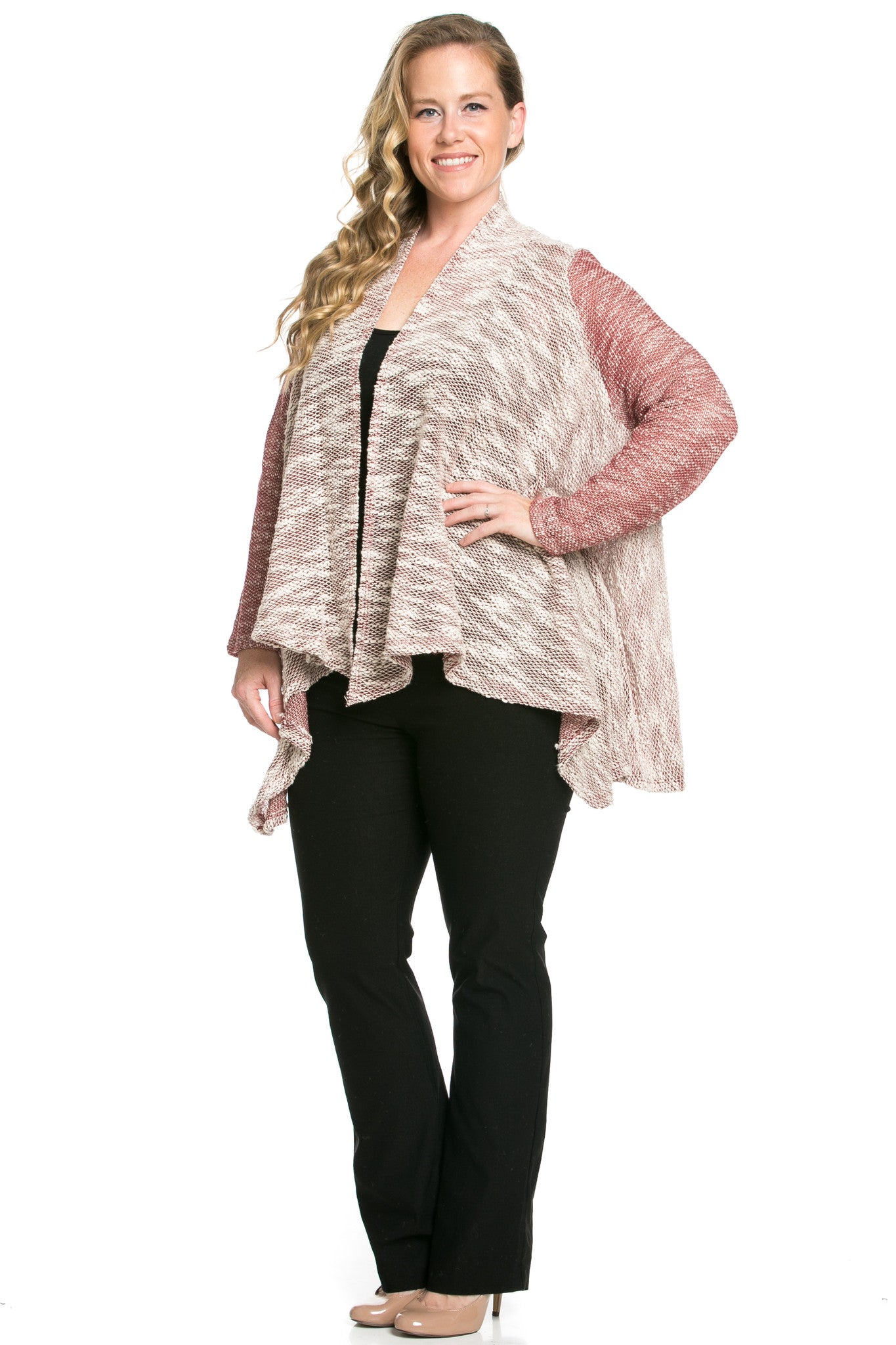 Slub Sweater Open Cardigan Plus Size Burgundy - Jacket - My Yuccie - 6