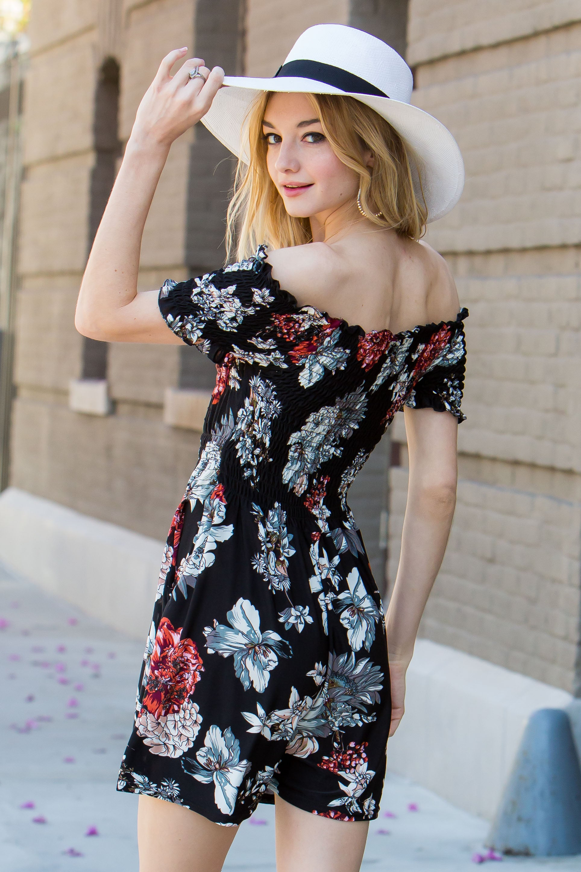 Black Red Floral Print Smocked Bodice Romper