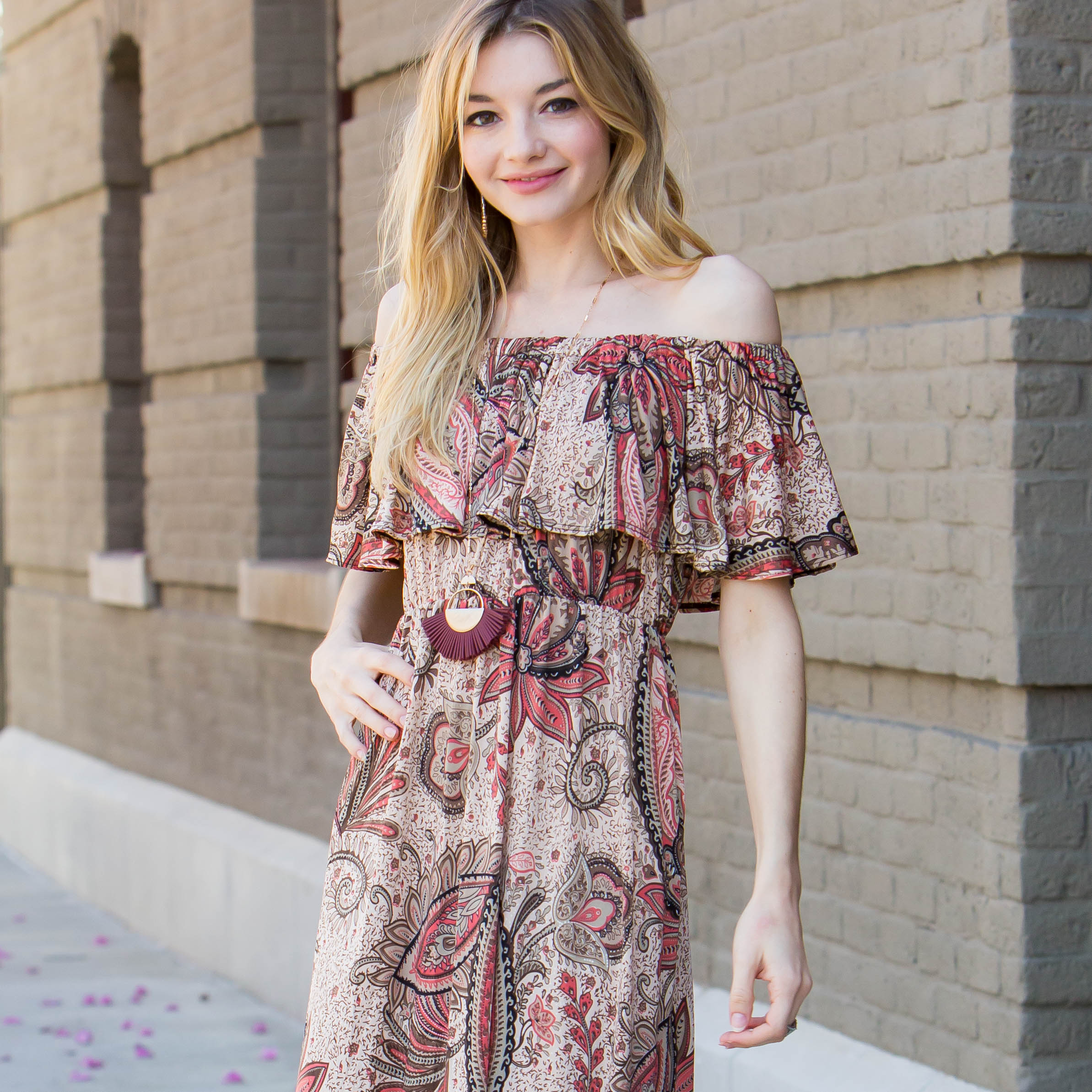 Taupe Dusty Rose Paisley Print Off Shoulder Maxi Dress