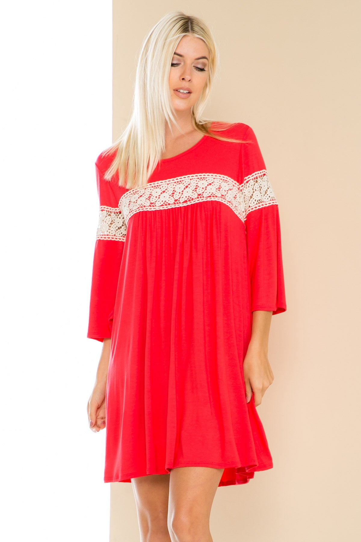 Coral Bell Sleeve Crochet Trim Swing Dress - Dresses - My Yuccie - 3