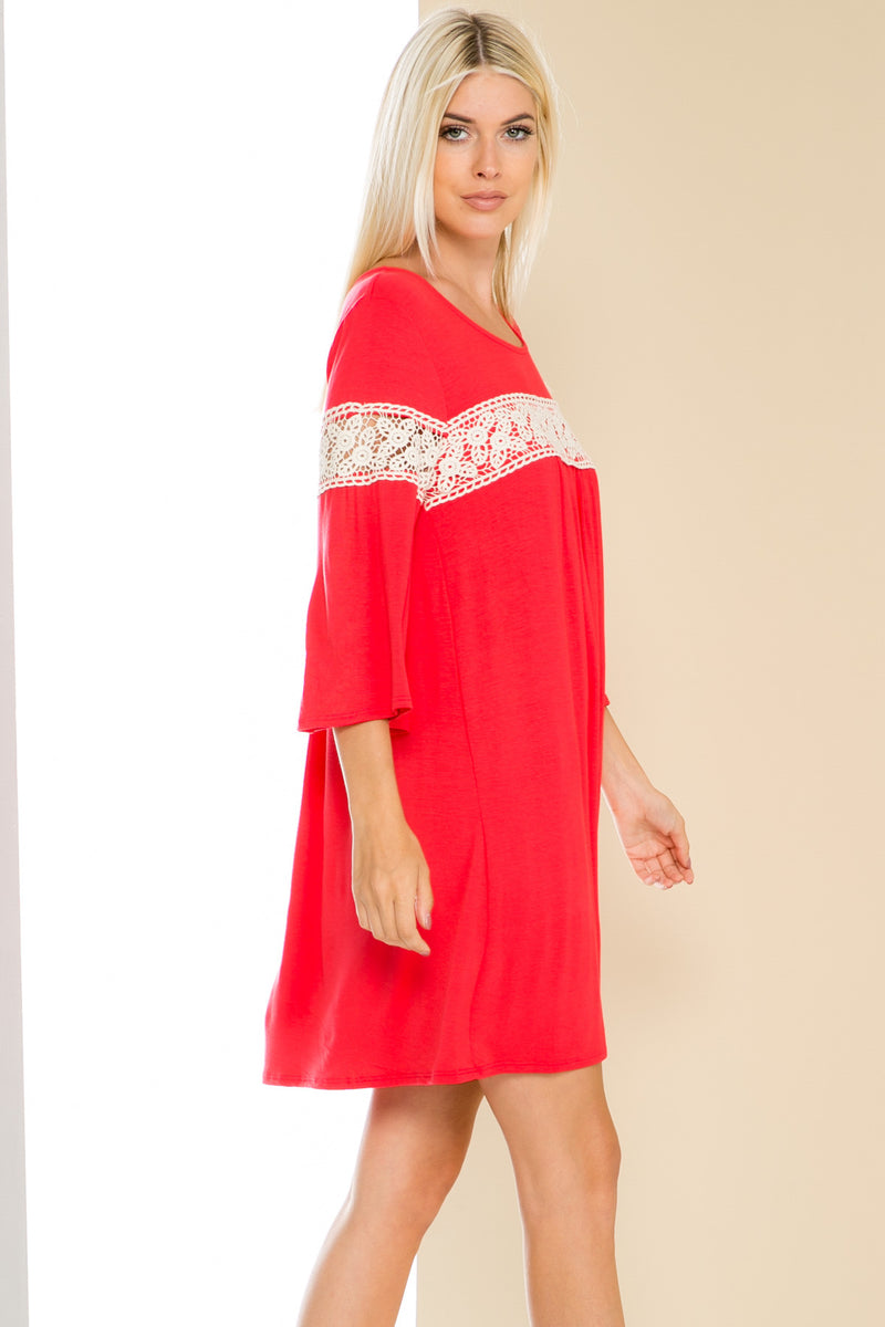 Coral Bell Sleeve Crochet Trim Swing Dress - Dresses - My Yuccie - 4