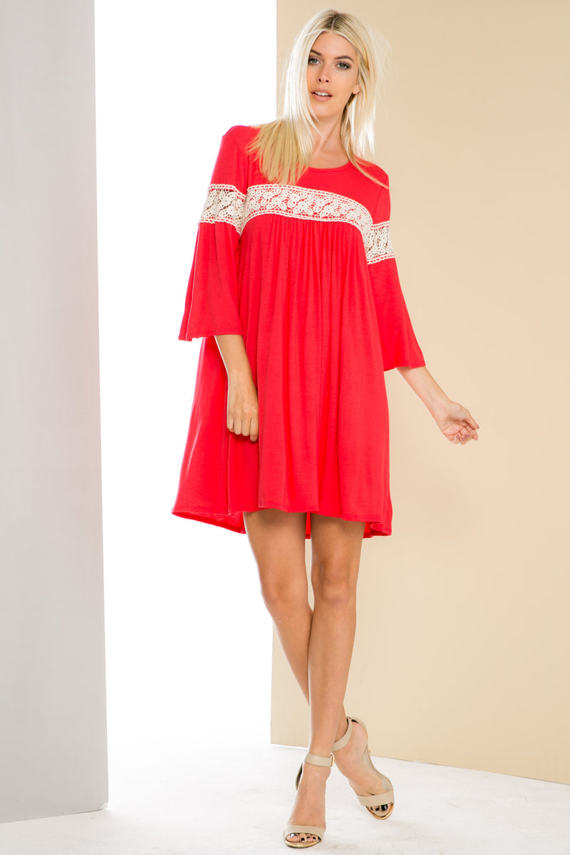 Coral Bell Sleeve Crochet Trim Swing Dress - Dresses - My Yuccie - 2