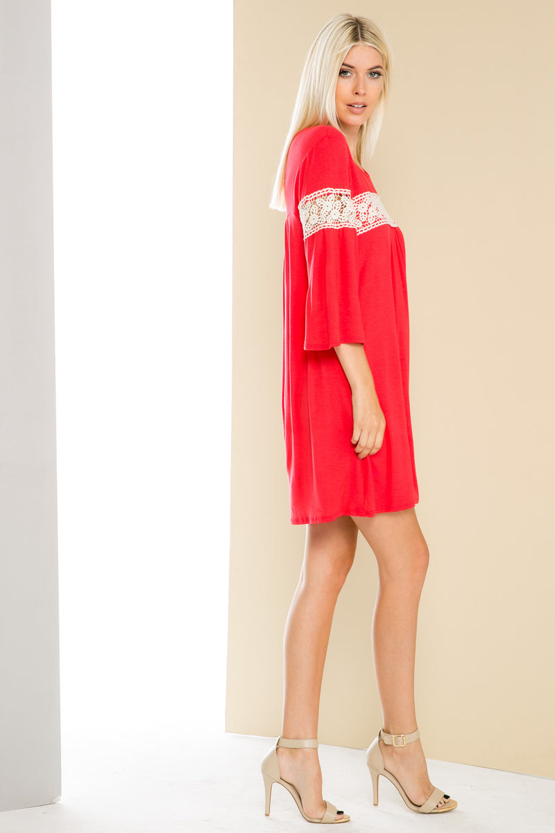 Coral Bell Sleeve Crochet Trim Swing Dress - Dresses - My Yuccie - 5