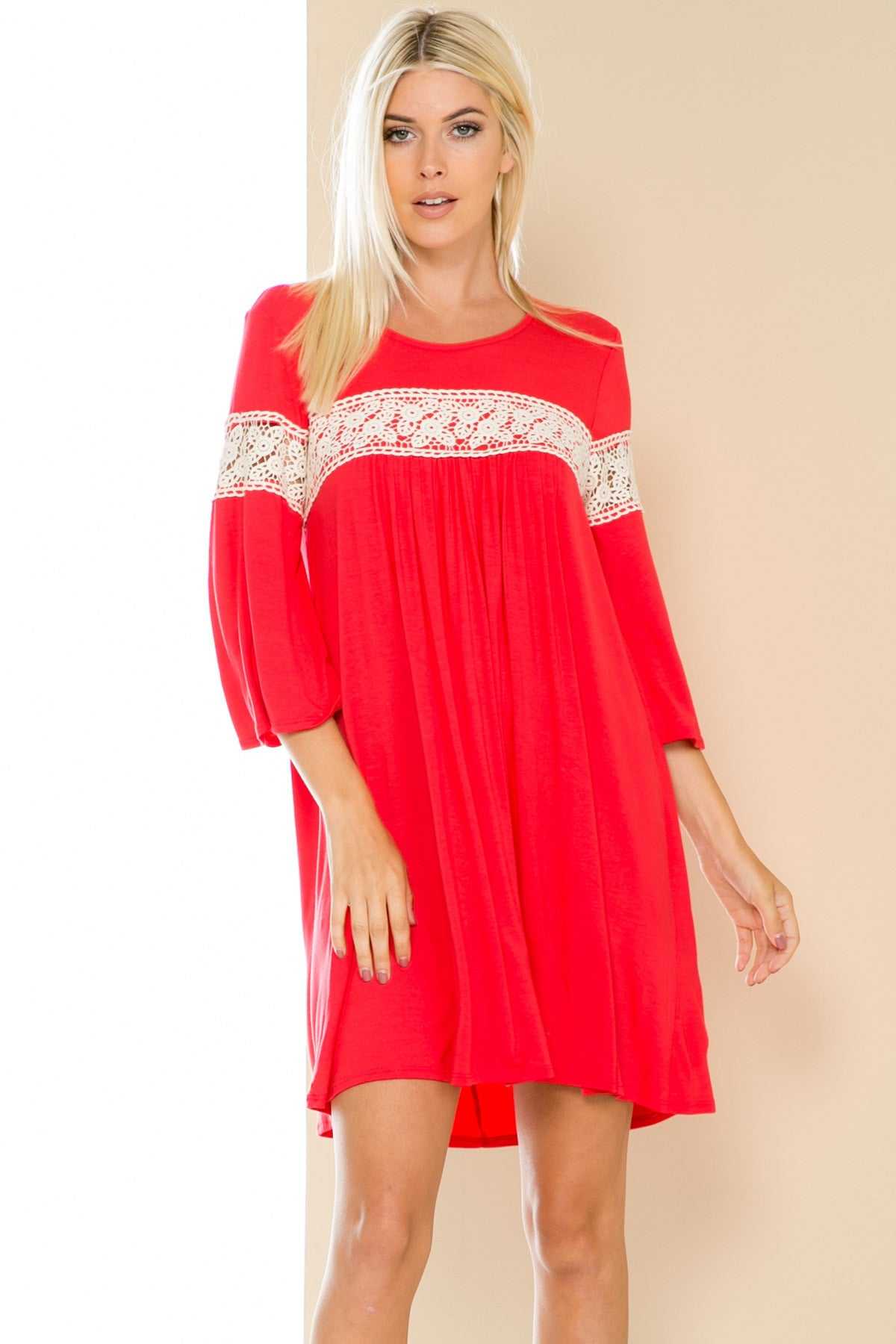 Coral Bell Sleeve Crochet Trim Swing Dress - Dresses - My Yuccie - 1