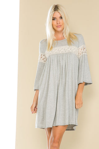 Heather Gray Bell Sleeve Crochet Trim Swing Dress - Dresses - My Yuccie - 1