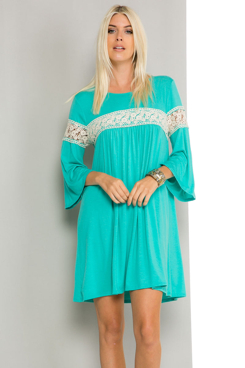 Jade Bell Sleeve Crochet Trim Swing Dress - Dresses - My Yuccie - 7