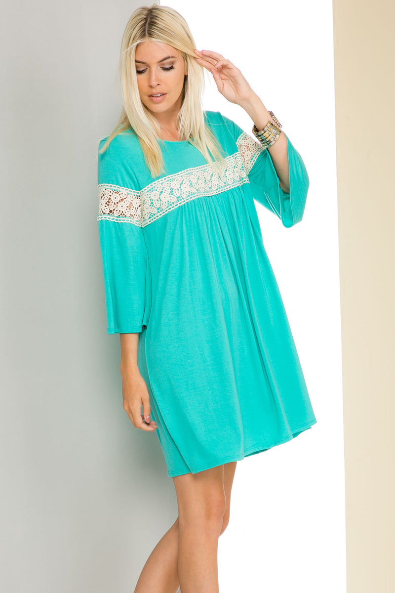 Jade Bell Sleeve Crochet Trim Swing Dress - Dresses - My Yuccie - 6