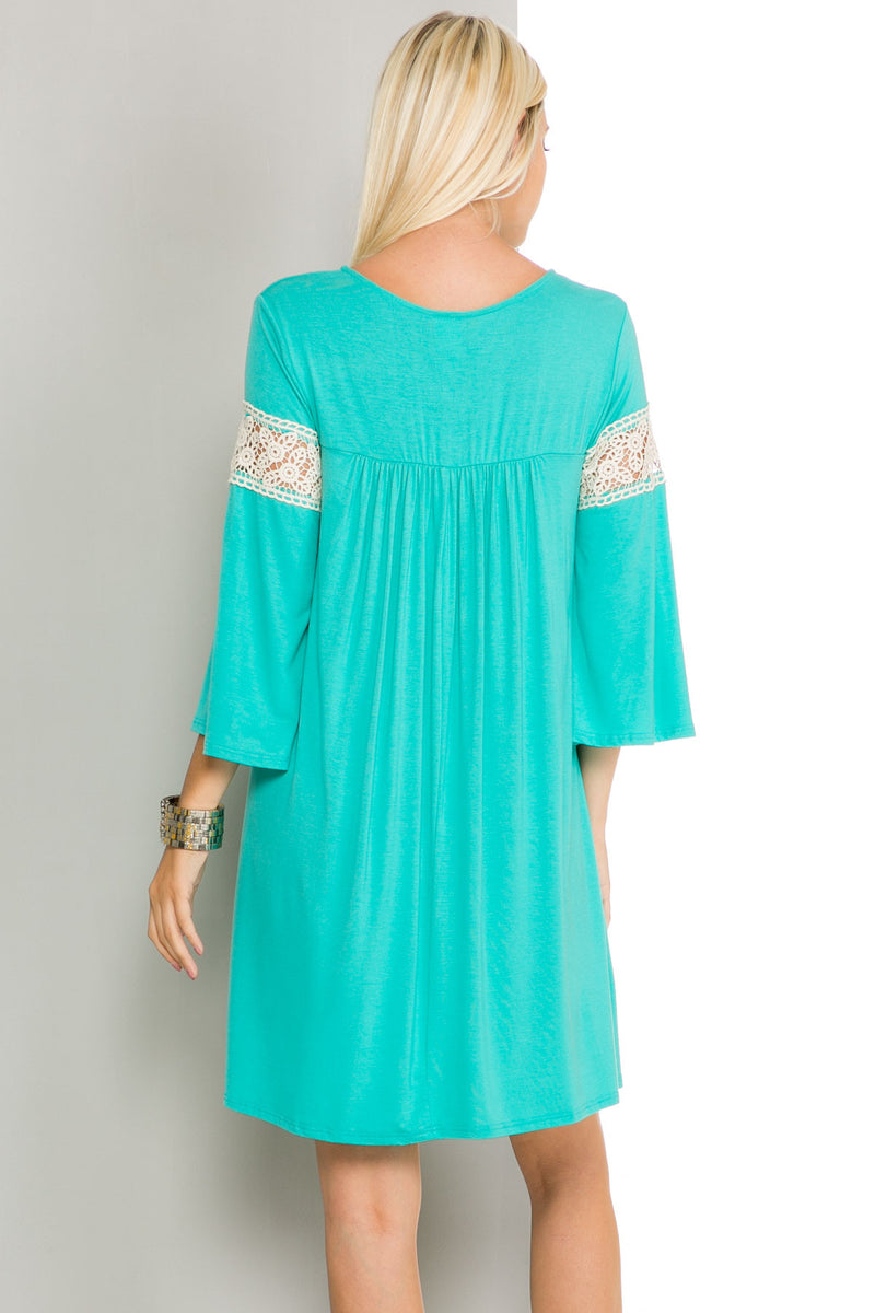 Jade Bell Sleeve Crochet Trim Swing Dress - Dresses - My Yuccie - 9