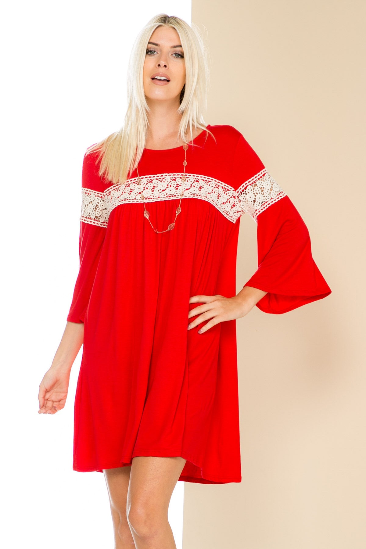 Red Bell Sleeve Crochet Trim Swing Dress - Dresses - My Yuccie - 3