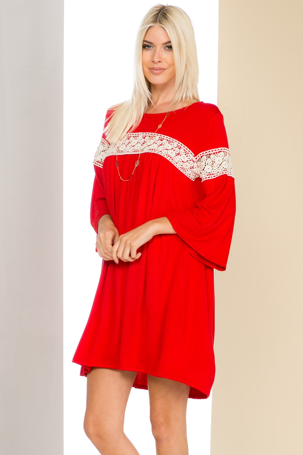 Red Bell Sleeve Crochet Trim Swing Dress - Dresses - My Yuccie - 1
