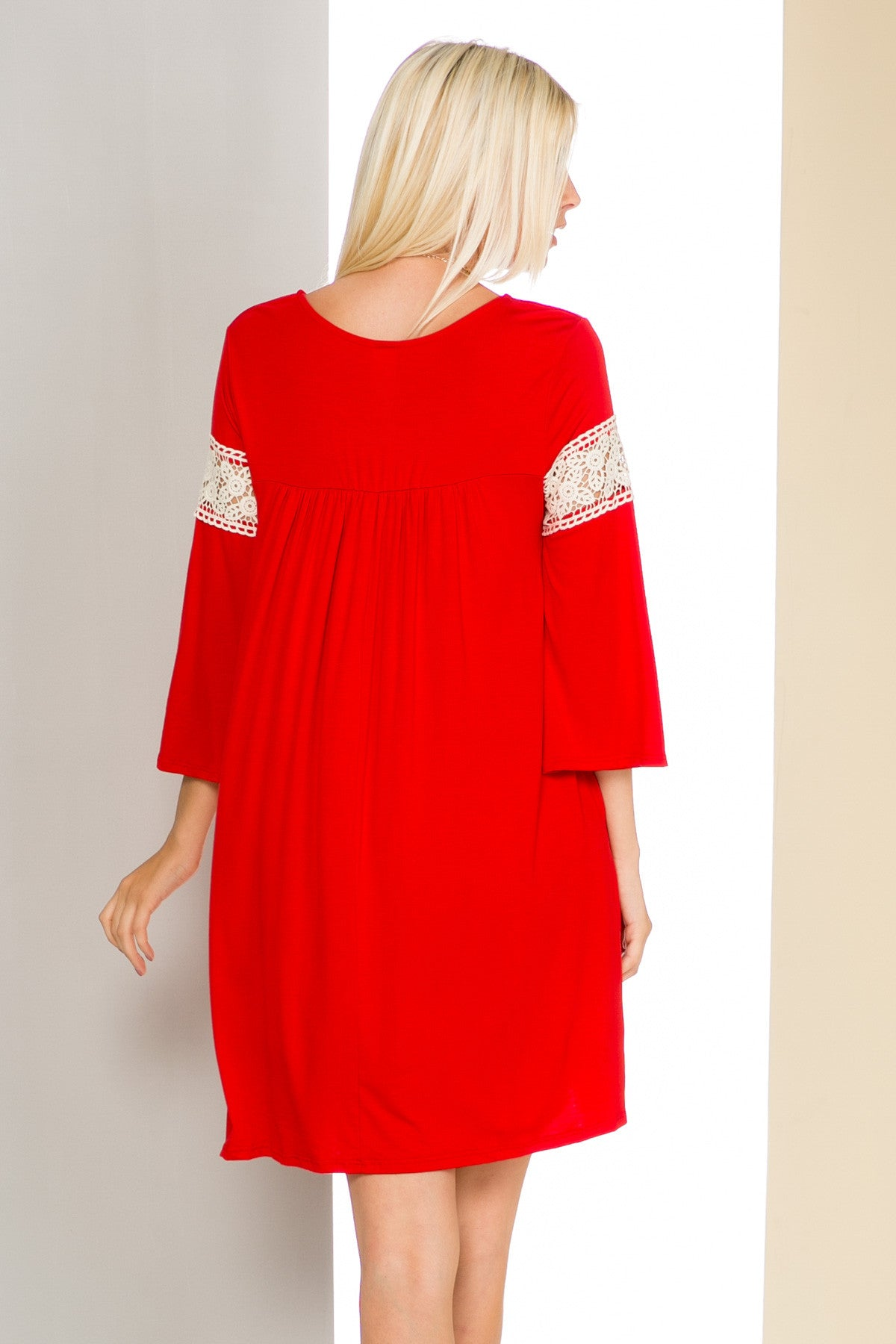 Red Bell Sleeve Crochet Trim Swing Dress - Dresses - My Yuccie - 4