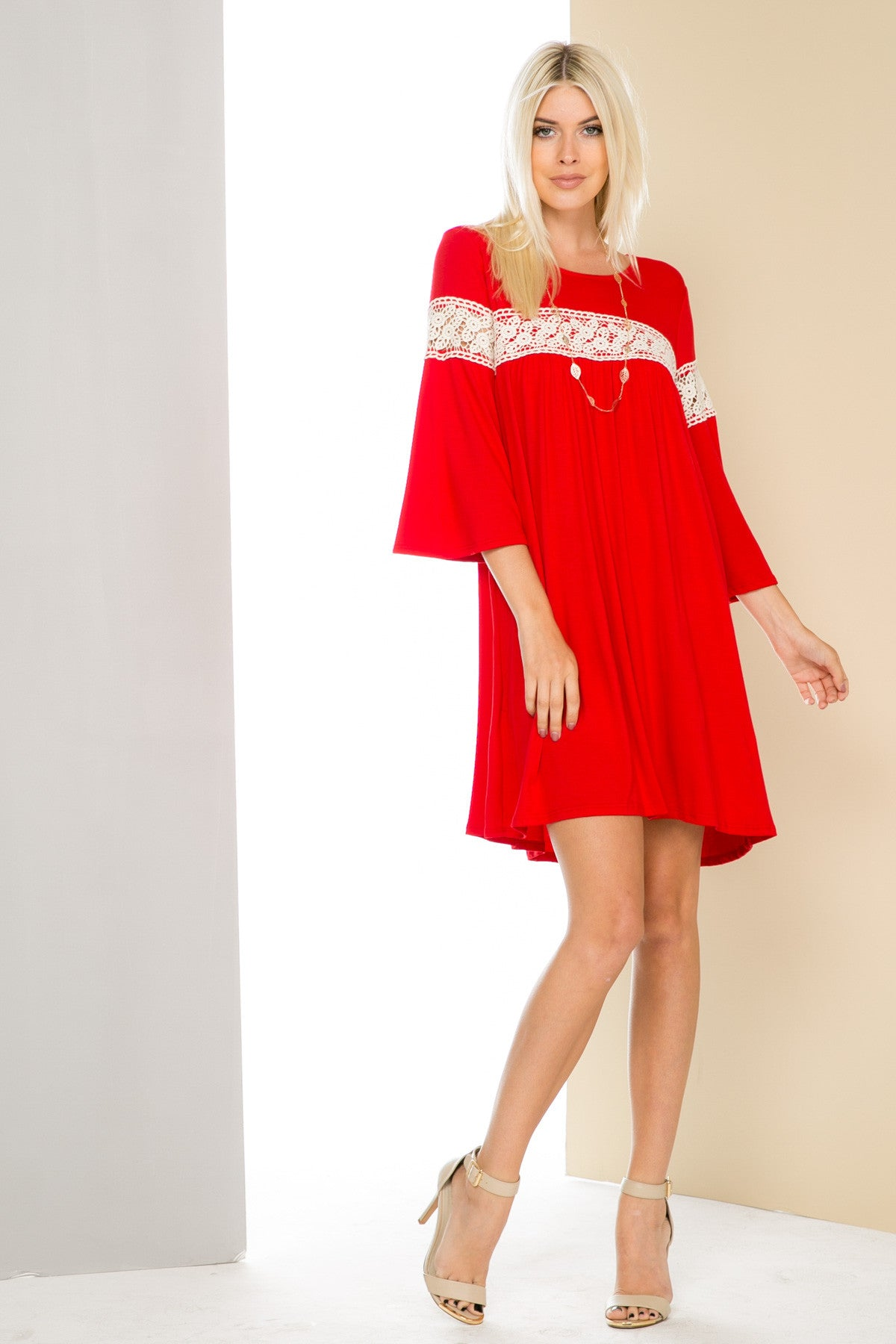 Red Bell Sleeve Crochet Trim Swing Dress - Dresses - My Yuccie - 2