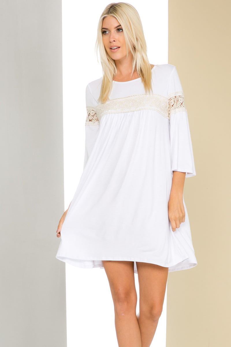 White Bell Sleeve Crochet Trim Swing Dress - Dresses - My Yuccie - 1