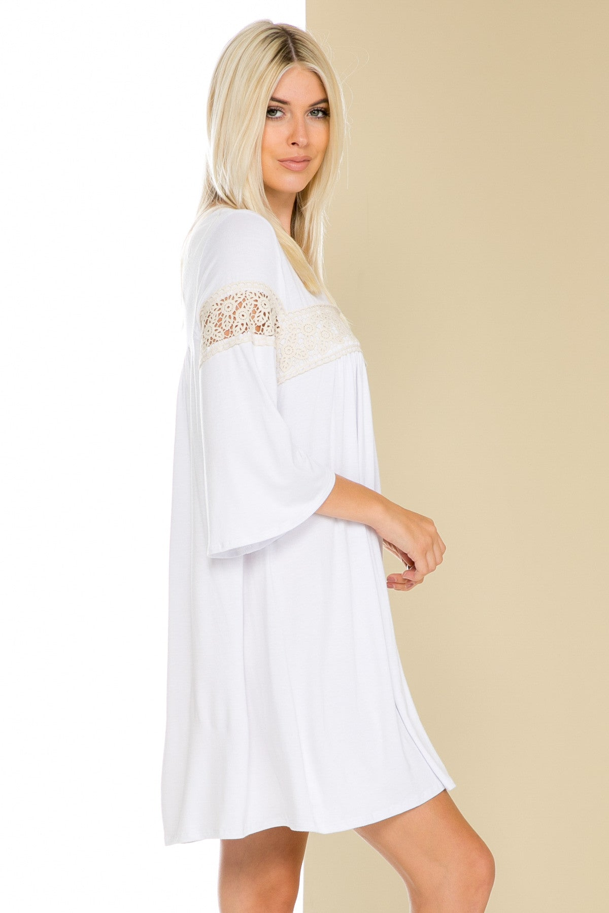 White Bell Sleeve Crochet Trim Swing Dress - Dresses - My Yuccie - 2