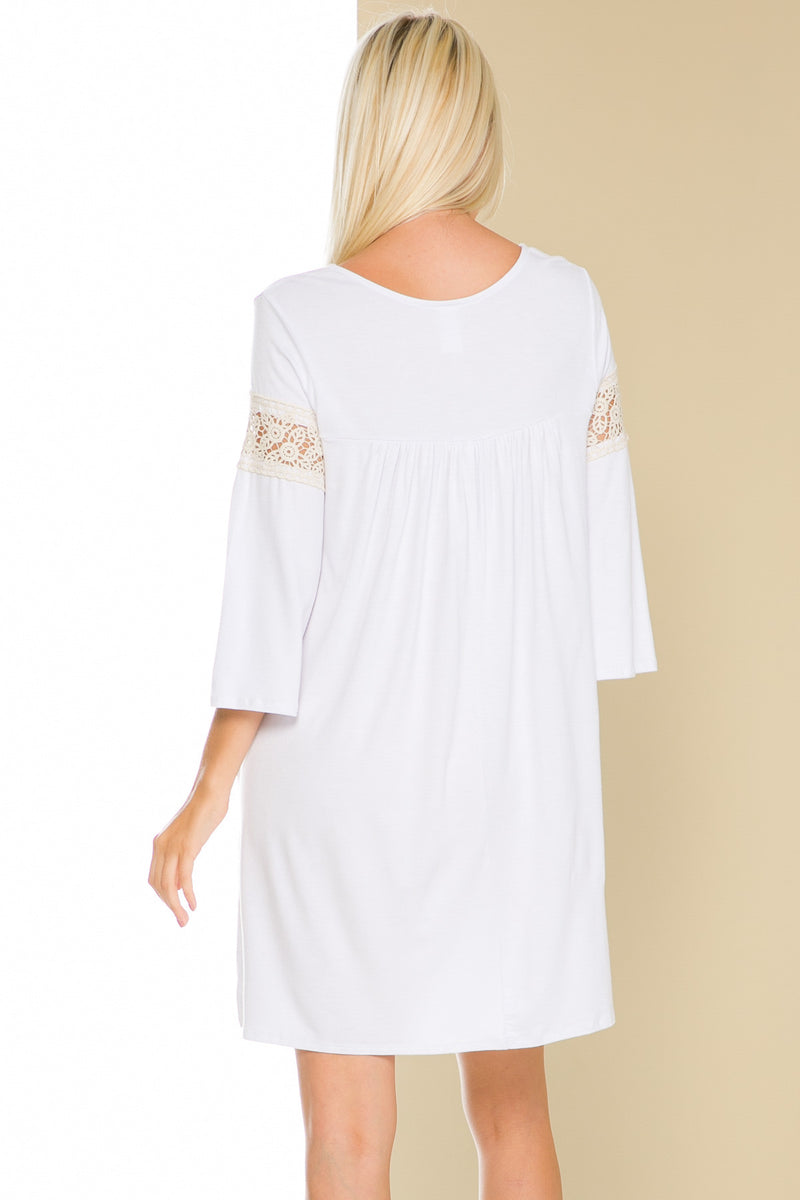 White Bell Sleeve Crochet Trim Swing Dress - Dresses - My Yuccie - 4