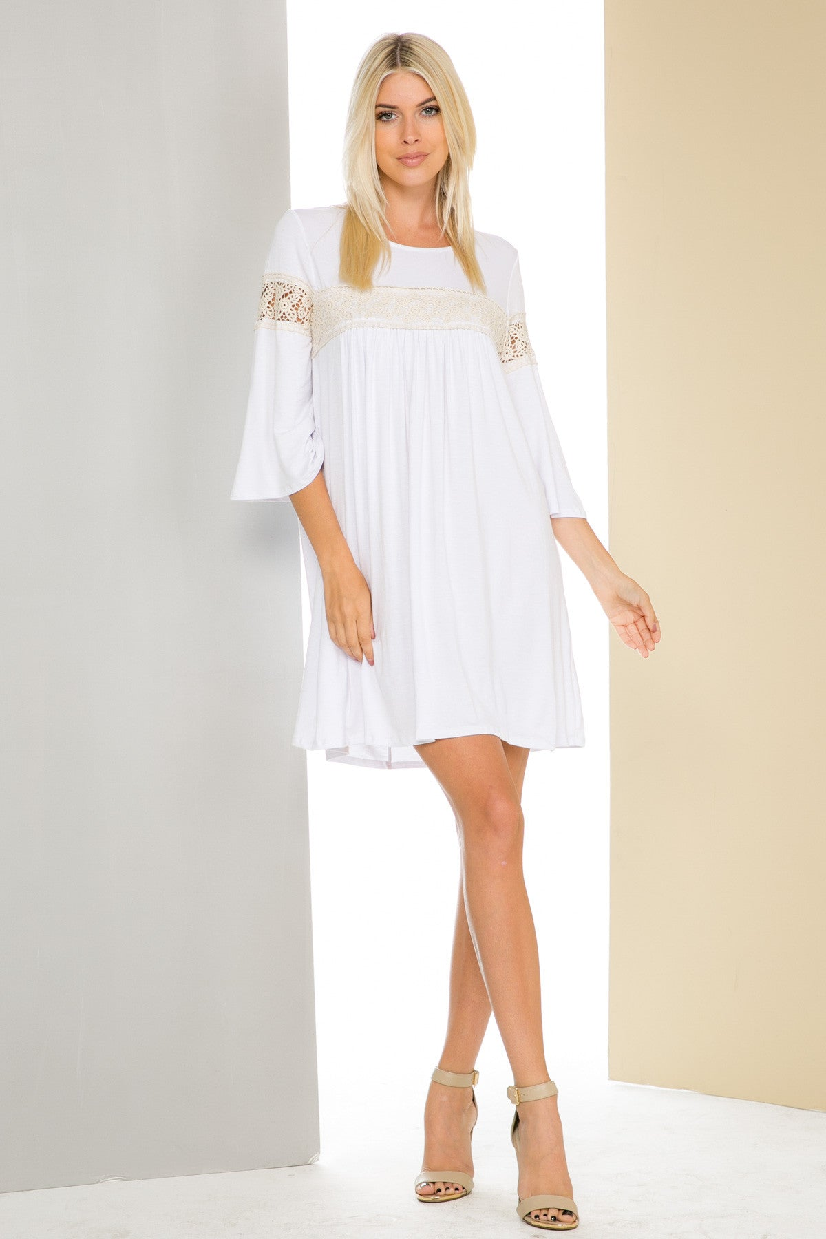 White Bell Sleeve Crochet Trim Swing Dress - Dresses - My Yuccie - 3