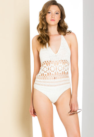 Hug Yourself Crochet Knit BodySuit White - Bodysuit - My Yuccie - 1
