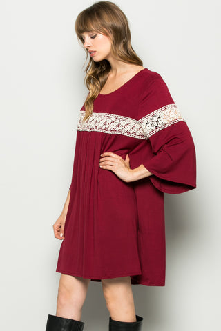 Burgundy Bell Sleeve Crochet Trim Swing Dress - Dresses - My Yuccie - 1